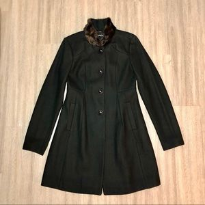 Express Black Wool Blend Long Pea Coat